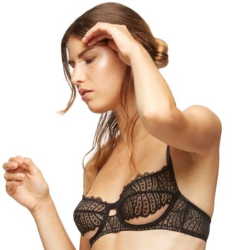Sheer Mesh Demi Cup Bra Blush Fame