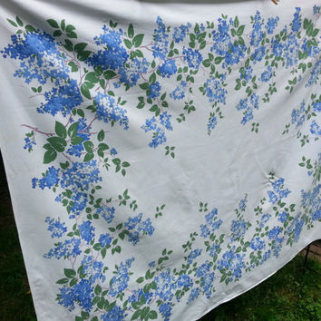 "Vintage Bluebonnet Blue Floral Tablecloth 65"" by 52"" Oblong"