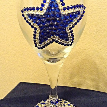 Dallas Cowboys bling wine glass, football wine glass, sports wine accessory
