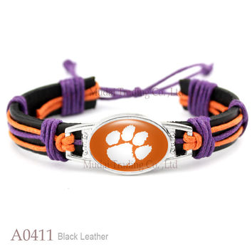 Tiger Collection - Clemson Tigers Adjustable Leather Cuff Bangle Bracelet for Athletic Team Mens Sports Wristband Jewelry Orange