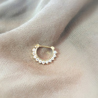 Septum Ring - Gold Plated with CZ