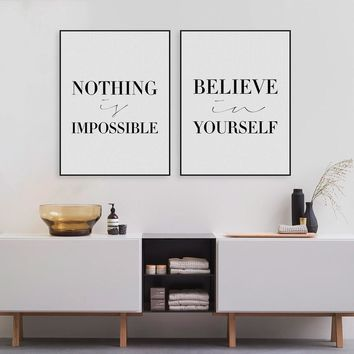 Minimalist Black White Motivational Typography Believe Quotes Art Print Poster Wall Picture Canvas Painting No Frame Home Decor