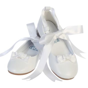 Ballerina Flats with Satin Ribbon Tie White Dress Shoes (Toddler & Girls Sizes)