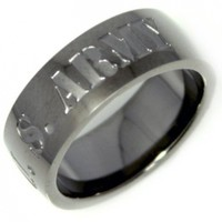 "Stainless Steel Men or Womens Band Ring with Gunmetal Color ""US Army"" Inscribed Size 8"