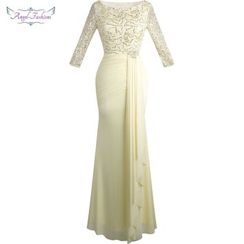 Angel-fashions Half Sleeve Sequin See Through Formal Party Long Evening Dresses Champagne 356