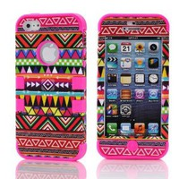 3in1 Hybrid High Impact Pink Hard Aztec Tribal Pattern + Hot Pink Silicone Case Cover For Apple iPhone 5- Cellphone Trendz (TM)