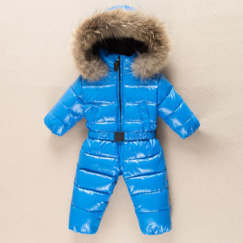 2016 Baby boys 90% winter thick rompers baby girls snowsuit coat kids outerwear clothes children Solid jumpsuit infant costume