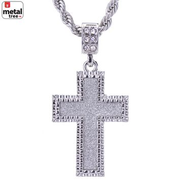 "Jewelry Kay style Men's Silver Plated Iced Out Glitter Cross Pendant 24"" Chain Necklace HC 2047 S"