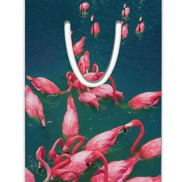 Bright Pink Painted Flamingos Aluminum Paper Clip Bookmark All Over Print
