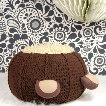 Crochet pouf ottoman bear with fuzzy belly and wool felt ears children's floor pillow