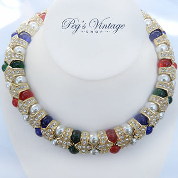 Unique Butler Chunky Goldtone Collar/Choker And Earrings, Glittering Swarovski, Red, Green, And Pearl Bead Wide Collar Cleopatra Necklace