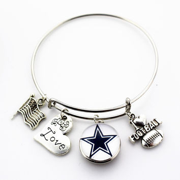 Dallas Cowboys Adjustable Bangle Bracelet (Today 50% Off + FREE Shipping!)