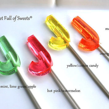 12 Letter J Lollipop Birthday Party Favors Barley Sugar Hard Candy Lollipop Suckers Personalized Initial J