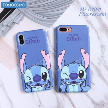 TOMOCOMO Funny Minnie Mickey Stitch Cartoon Hard PC Case For iPhone 6 6Plus 7 7P 8 8Plus X Characters Back Cover Skin Coque Capa