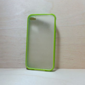 iPhone 4 / 4S Case Silicone Bumper and Translucent Frosted Hard Plastic Back - Grass Green