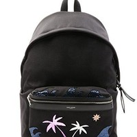 Wiberlux Saint Laurent Men's Glittered Beach Theme Detail Backpack