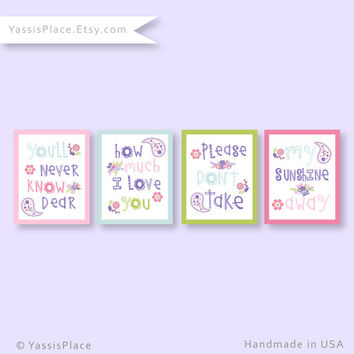 You Are My Sunshine, You make me happy, girl paisley wall art in pink, purple, blue and green. Custom colors by YassisPlace