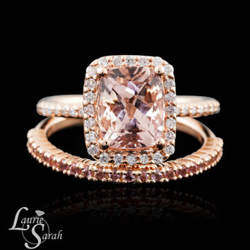 Cushion Cut Morganite Engagement Ring, Rose Gold Moganite Wedding Set, Diamond Halo Engagement Ring, Peach Sapphire Wedding Band - LS3523
