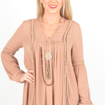 Dusty Rose Boho Top with Crochet Bands and High-Low Hem