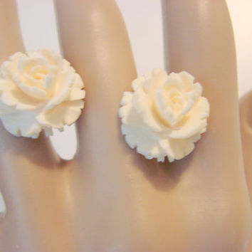 30s WINARD Hand Carved Ivory Earrings (1/20 12Kt Gold Filled)