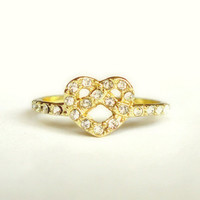 Gold love knot ring gold heart ring crystal ring infinity knot ring thin gold ring heart jewelry dainty ring knot jewelry