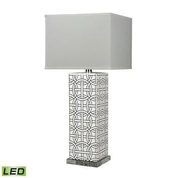 D314-LED Linked Rings Ceramic LED Table Lamp in White And Blue
