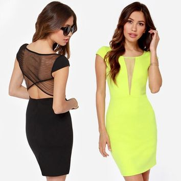 Women Bodycon Dress Lace Contrast Cut Out Short Sleeve Mini Dress Women V-neck Sheer Party Club Dress