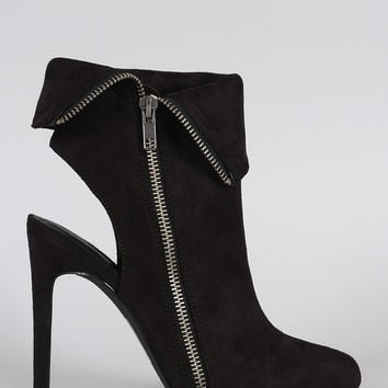 Suede Pointy Toe Collar Cutout Stiletto Heel Booties
