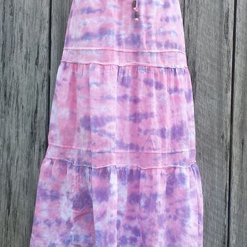 Women's Medium (8/10) Tie Dye Skirt, Long Hippie Skirt, Pink and Purple Bohemian Skirt, Feastival Wear
