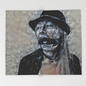 Dark and dirty - submissive gagged girl abstract variation, altered, surreal adult photography Throw Blanket by hmdesignspl