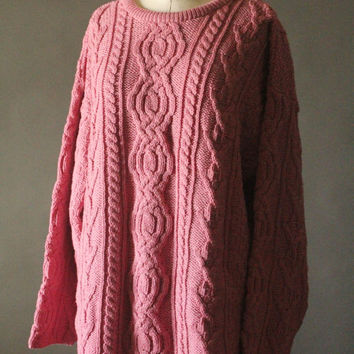 Vintage 90's Dusty Pink Cable Knit Merino Wool Pullover Sweater by Aran Crafts, size XXL