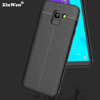 XinWen luxury phone case for samsung galaxy j6 2018 j 6 j600f j600 silicone silicon etui,coque,cover, Soft tpu leather Pattern
