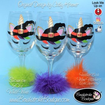 Hand Painted Wine Glass - Halloween Unicorn - Original Designs by Cathy Kraemer