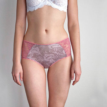 PINK PEACOCK. High Retro Style Panties. Dusty Rose Lace. Unique BohemianLingerie