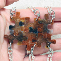 Small Puzzle pendants 6 piece set Copper Gold and black gunmetal glitter resin puzzle pieces R4