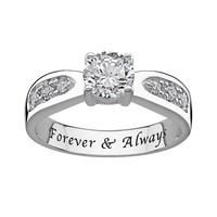 Sweet Sentiments Cubic Zirconia Engagement Ring in Sterling Silver (White)