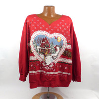 Ugly Christmas Sweater Vintage Sweatshirt Heart Party Xmas Tacky Holiday