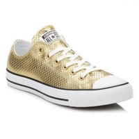 DCCKHD9 Converse Gold Metallic Leather Trainers