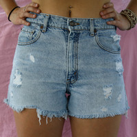Vintage High Waisted Levi Destroyed Denim Shorts
