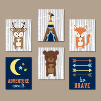 WOODLAND Nursery Wall Canvas or Prints Boy Woodland Artwork Birch Wood Forest Animal Deer FOX Bear Boy Bedroom Decor Set of 6 Be Brave