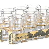 Glasses with Vintage Inspired Iron Stand (Set of 12)