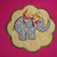 Scallop Girl Elephant Applique Toddler Shirt (5T)