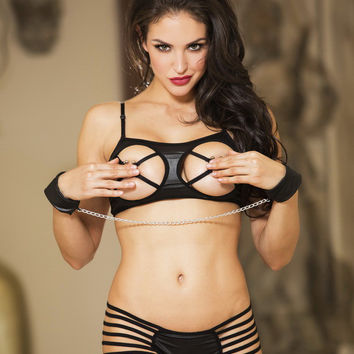 Open Cups Leather Bra Sets