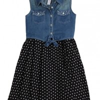 Denim Tie Front Dot Dress
