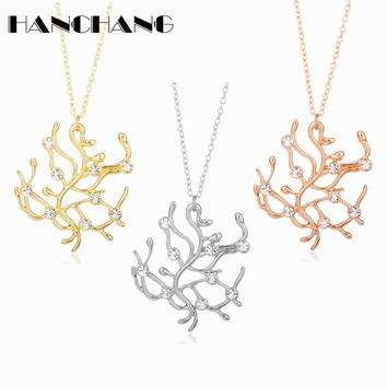 New Fashion Design Beauty and the Beast Necklace Charms Metal Rhinestones Rose Tree Pendants Chain Necklace for Women Girls