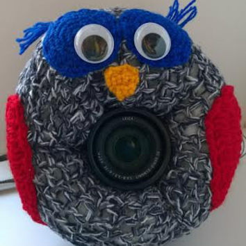Camera Cover, Photographer Equipment, Photographer Accessory, Colorful Camera Cover, Lens Buddy, Crochet Owl