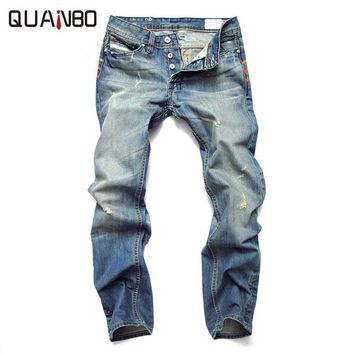 Men Fashion Trousers Causal Pants Spring Autumn Slim  Straight Jeans Men Fear Of God Jeans Light Blue Button Ripped Jeans