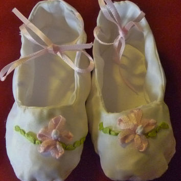 Satin Baby Booties/Slippers with Ribbon Embroidery