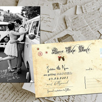 "SALE - 50 Wedding Save The Date Cards - Marry Christmas Vintage Photo Personalized 4""x6"""