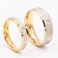 Fashion Ring Womens Mens Jewelery Forever Love 18K Gold Titanium Couple Rings Jewlery Charm Diamond Ring Vintage Promise Ring Su